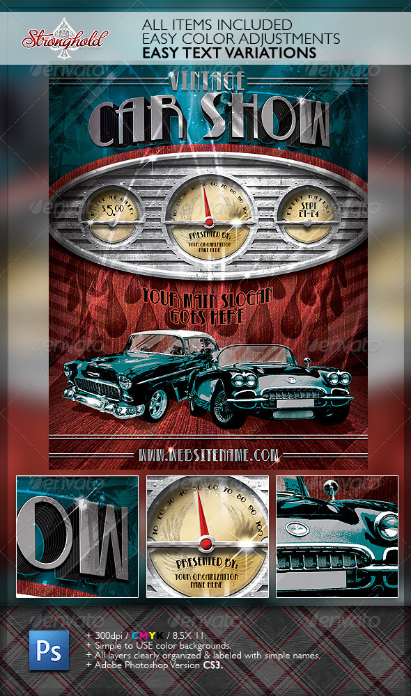 Vintage Car Show Dashboard Flyer Template Moderngentz
