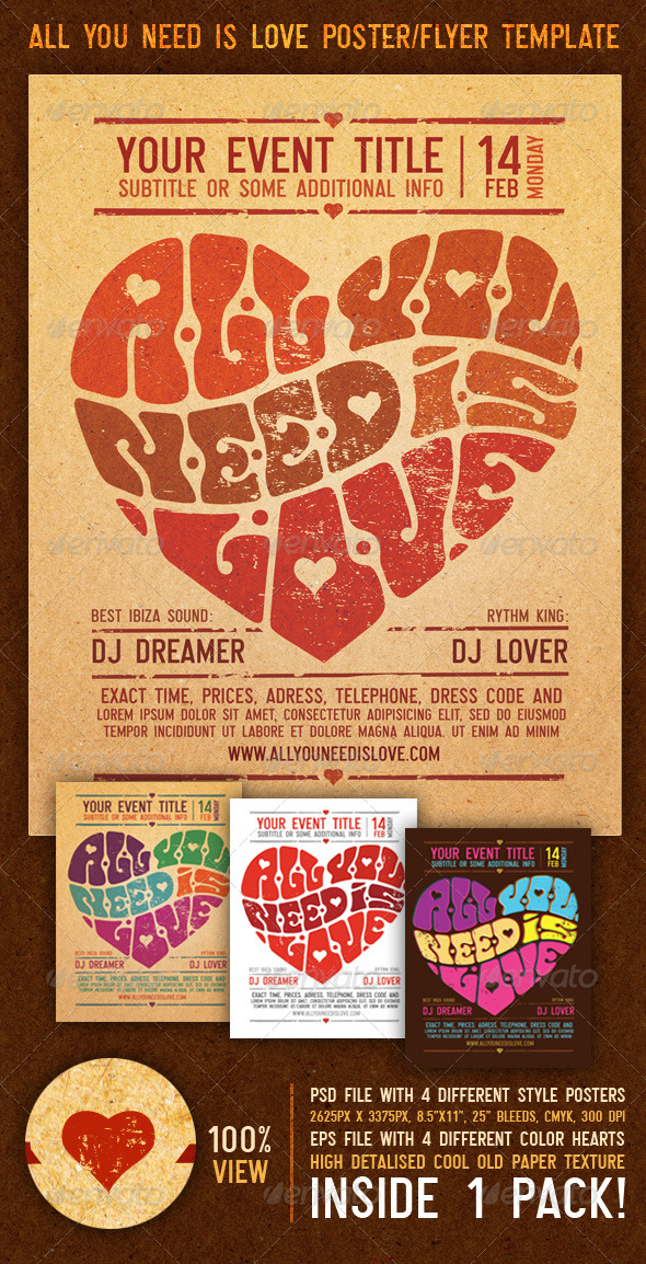 all you need is love vintage poster flyer template www moderngentz