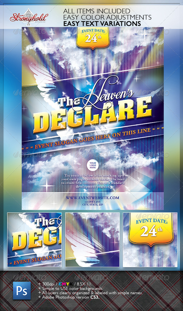 Heavenu0027s Declare Church Flyer Template | Www.Moderngentz.com | Your Template  Resource | Photoshop Flyers To Wordpress Themes | Event Flyer Templates  Christian Flyer Templates
