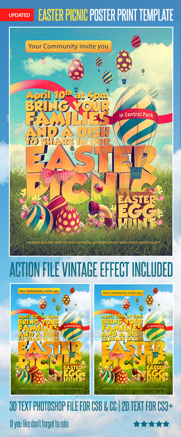 Easter Picnic Poster Print Template Main Preview Image
