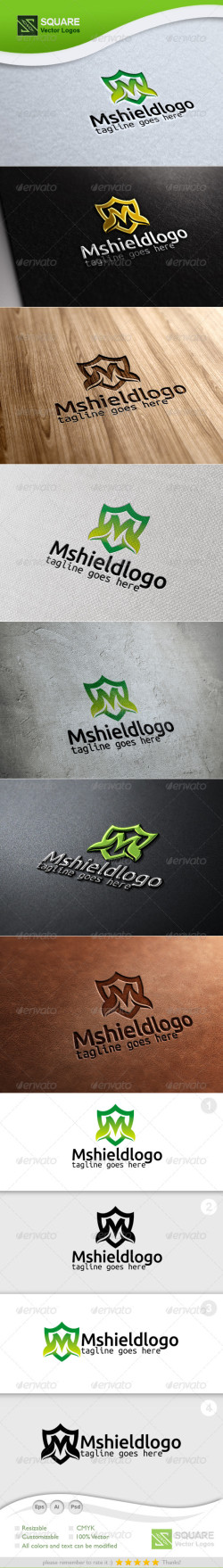 M Letter Shield Vector Logo Template-Preview