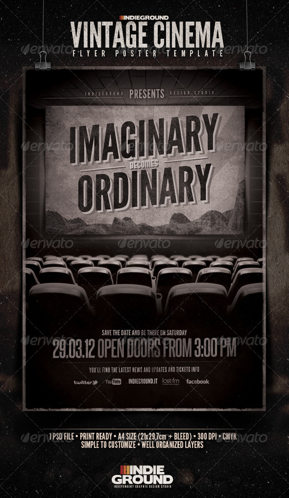 Vintage cinema flyer poster wwwmoderngentzcom your template resource photoshop flyers to for Old poster template