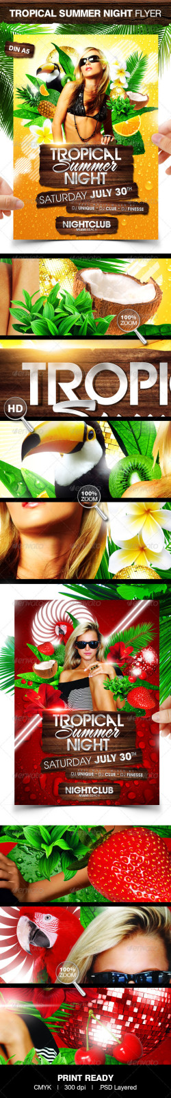Tropical Summer Night Party Flyer Template preview big