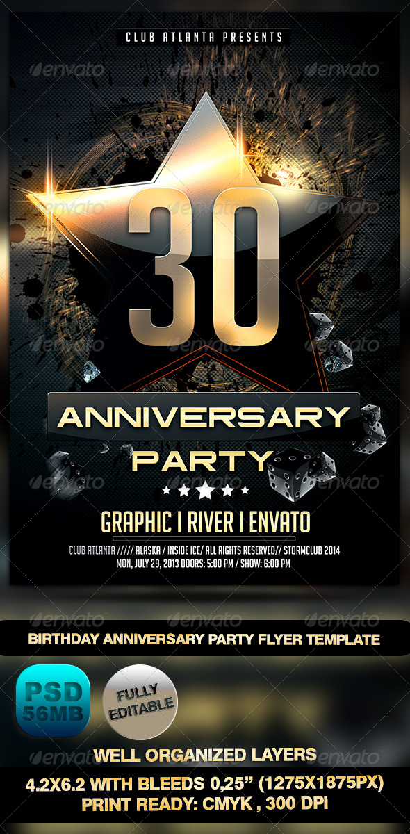 Birthday Anniversary Party Flyer Template  WwwModerngentzCom