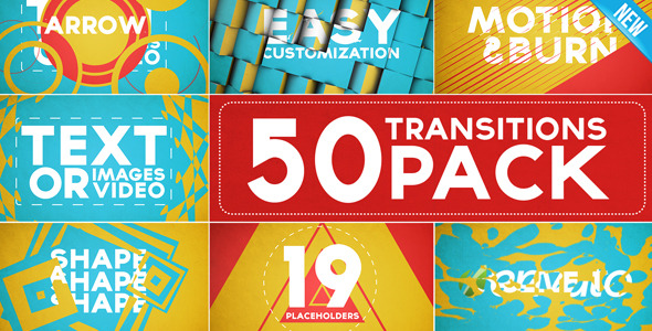 50 Transitions Pack with Opener – After Effects Project | www ...
