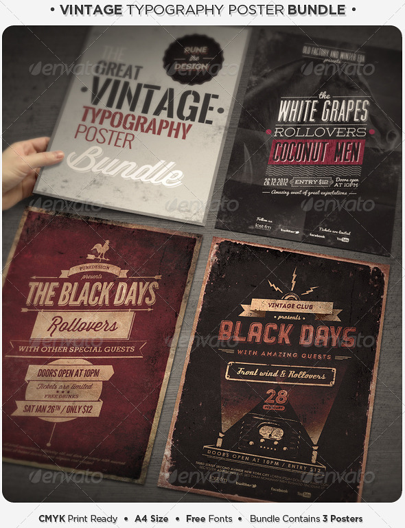 Vintage Typography Poster Bundle Www Moderngentz Your Template Resource Photo Flyers To WordPress Themes Event Flyer Templates