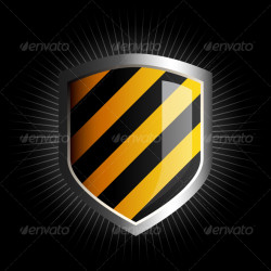 Glossy black and yellow shield emblem