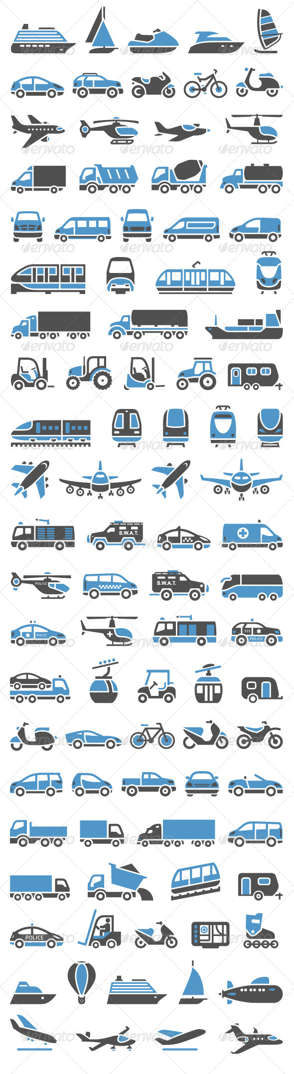 93 Transport icons set blue and gray 590