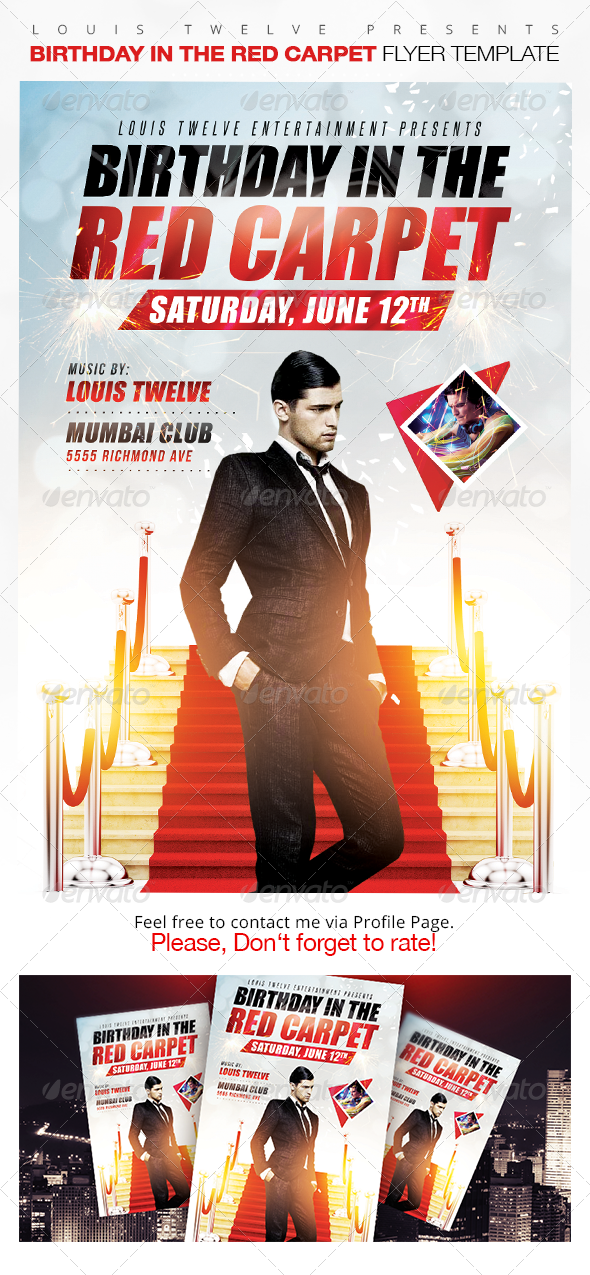 Birthday in the Red Carpet Flyer Template | www.Moderngentz.com ...
