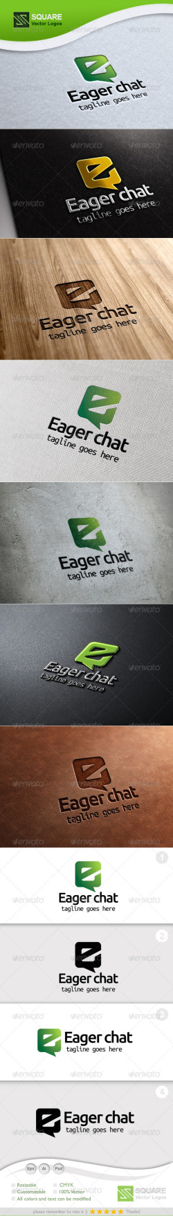 E Letter chat Vector Logo Template-Preview