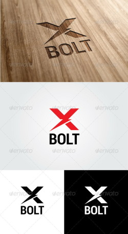 X bolt  logo template preview