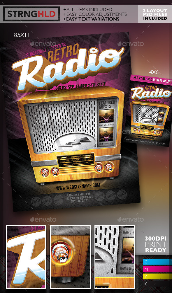Retro Radio Event Flyer Template | Www.Moderngentz.Com | Your