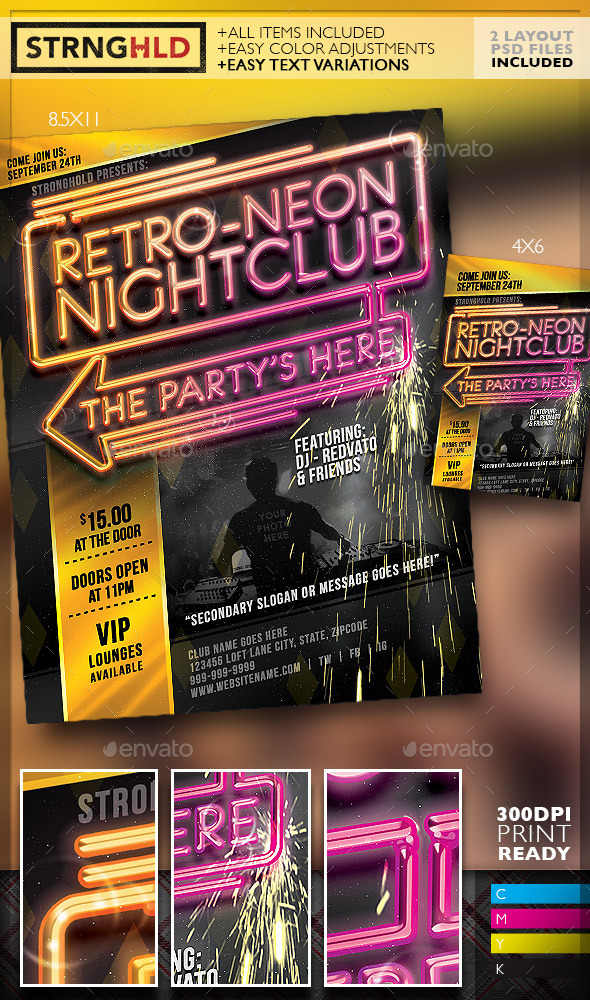 Retro Neon Party Flyer Template Moderngentz Your