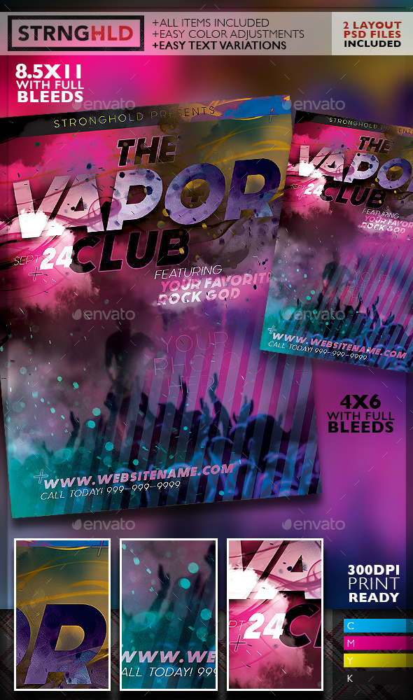 Vapor Club Event Flyer Template Moderngentz Your